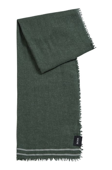 Melange scarf with light fringing and striped ends, Green