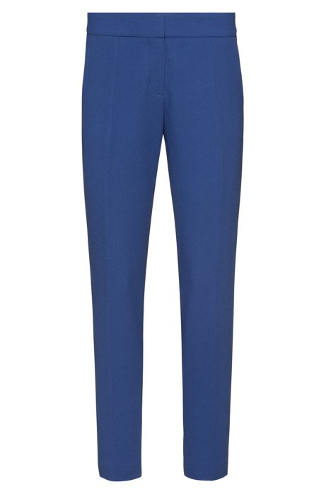 Slim-fit cigarette trousers in structured fabric, Blue