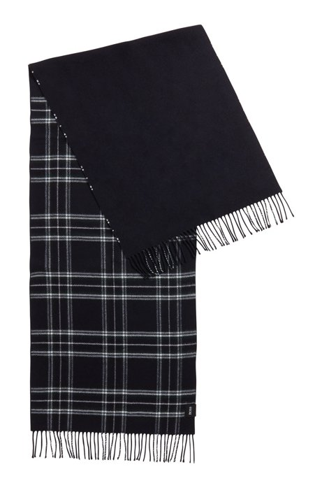 Double-layer scarf in checked twill, Dark Blue