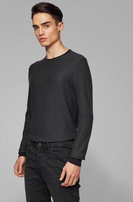Gebreide trui van katoen en zijde met 3D-structuur, Zwart