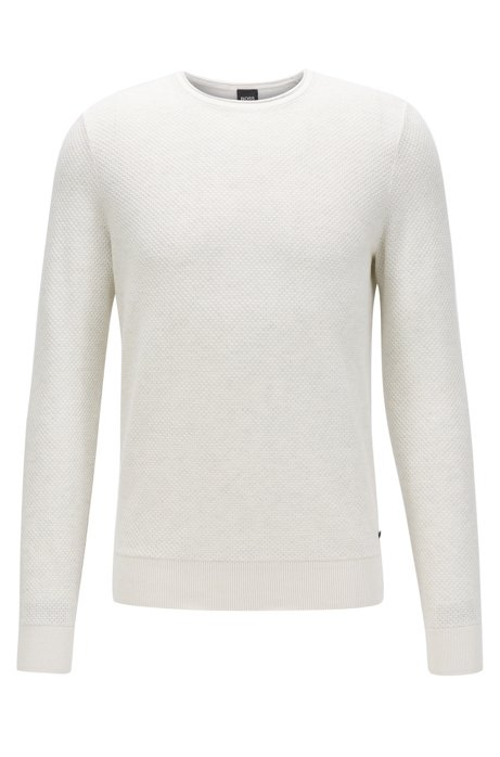 Knitted sweater in cotton and silk with 3D structure, White
