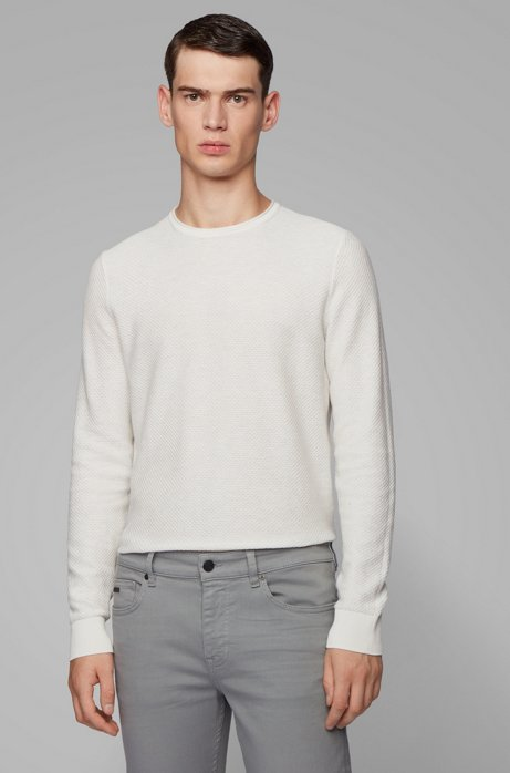 Gebreide trui van katoen en zijde met 3D-structuur, Wit