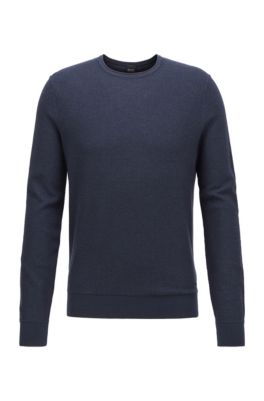 Knitted sweater in cotton and silk with 3D structure, Dark Blue