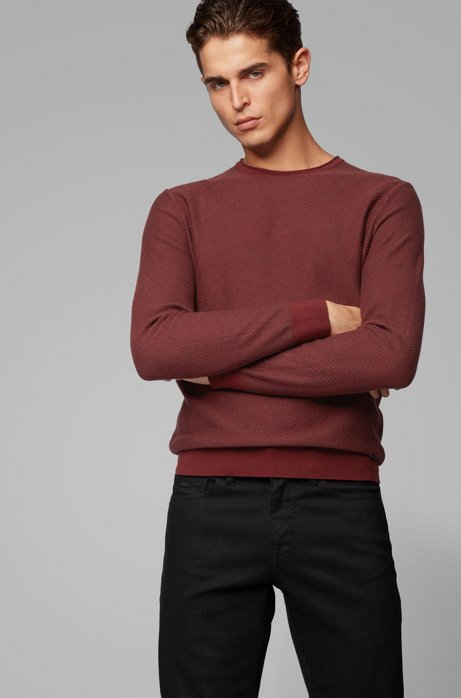 Knitted sweater in cotton and silk with 3D structure, Dark Red