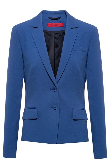 Regular-fit jacket in stretch fabric with pocket details, Blue