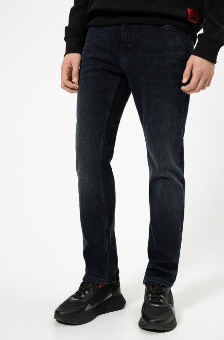 Jean Regular Fit en confortable denim stretch bleu et noir, Bleu foncé