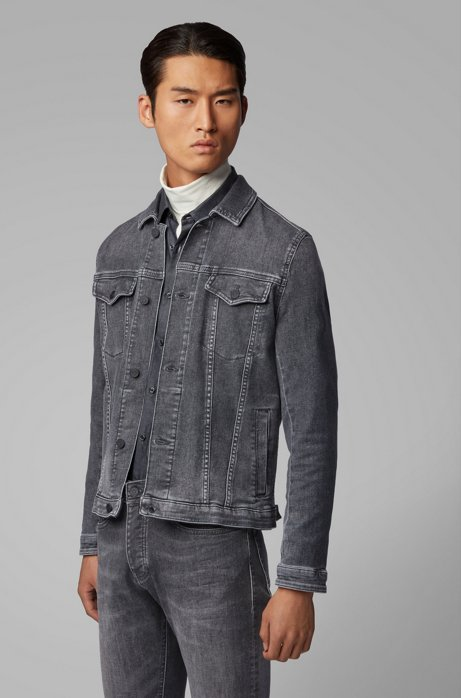 Regular-Fit Jacke aus Super-Stretch-Denim, Grau