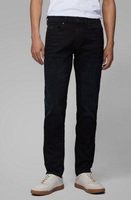 Slim-fit jeans van overgeverfd comfortabel stretchdenim, Donkerblauw