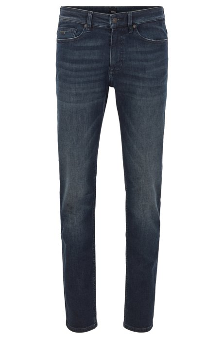 Slim-Fit Jeans aus leichtem Super-Stretch-Denim, Dunkelblau