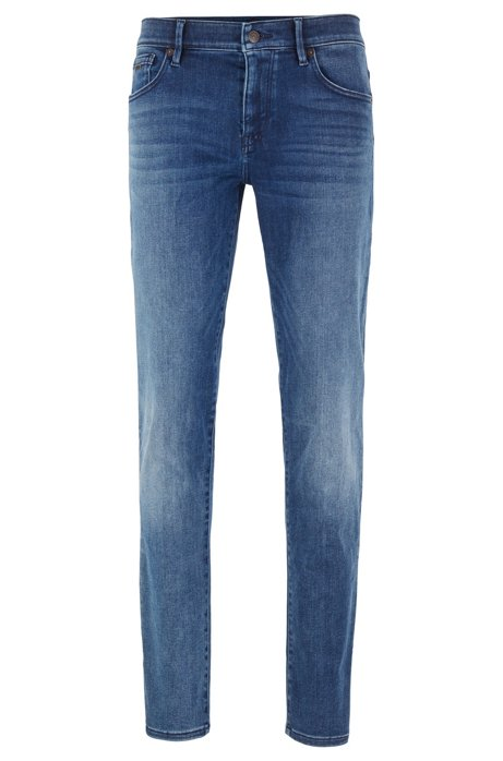 Jean Skinny Fit en denim lavé super stretch, Bleu