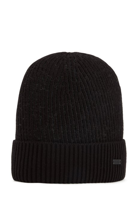 Cotton-blend beanie hat with two-tone ribbing, Black