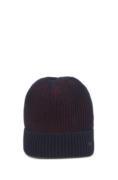 Cotton-blend beanie hat with two-tone ribbing, Dark Blue