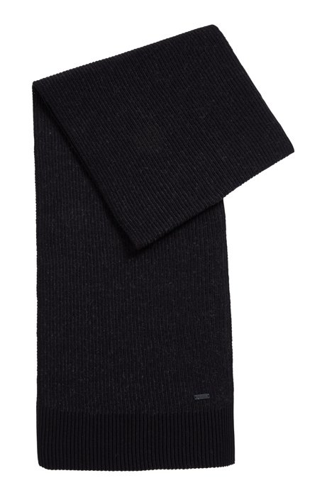 Two-tone ribbed scarf in a cotton blend, Black