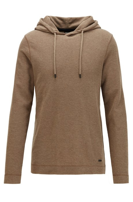 Hooded long-sleeved T-shirt in waffle-structured cotton, Brown