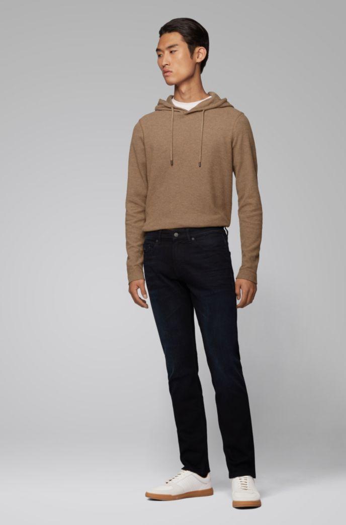 T-shirt en coton gaufré à capuche et manches longues