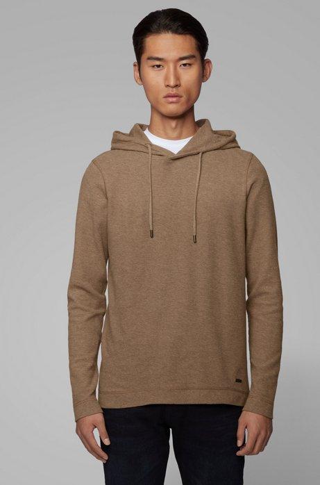 T-shirt en coton gaufré à capuche et manches longues, Marron