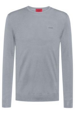 Slim-fit sweater in a merino-wool blend, Grey