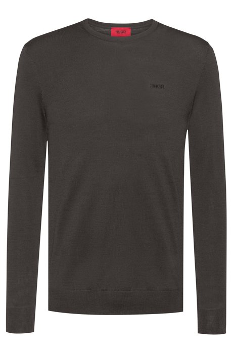 Slim-fit sweater in a merino-wool blend, Dark Green