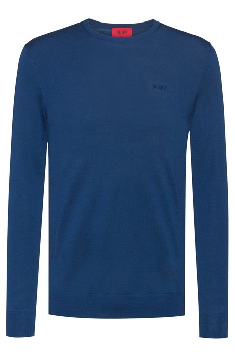 Slim-fit sweater in a merino-wool blend, Dark Blue