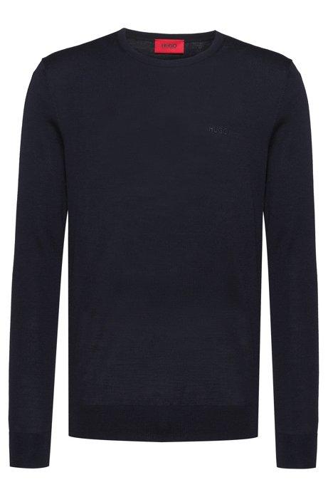 Slim-fit sweater in a merino-wool blend, Dark Blue