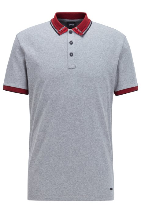 Cotton-jersey polo shirt with checked jacquard collar, Grey