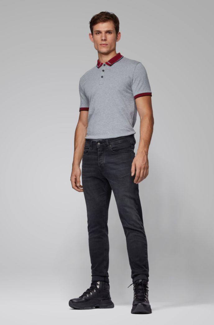 Polo en jersey de coton avec col jacquard à carreaux