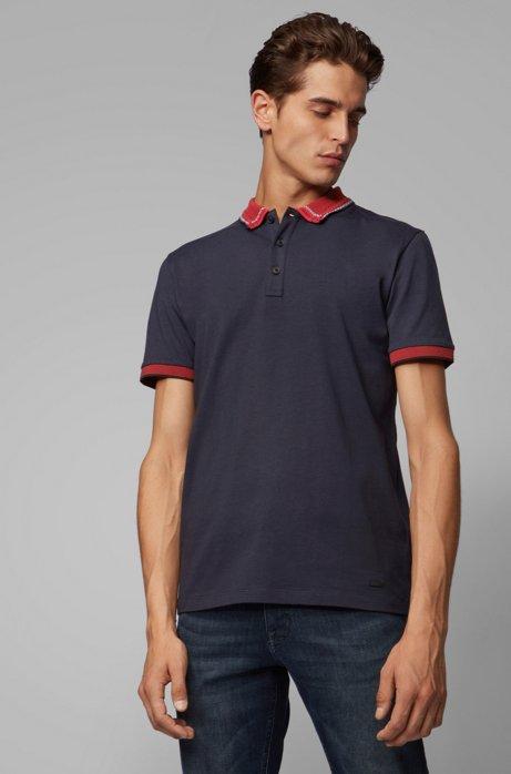 Polo en jersey de coton avec col jacquard à carreaux, Bleu foncé