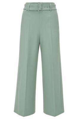 Pantalon Regular Fit style jupe-culotte en twill stretch, Chaux