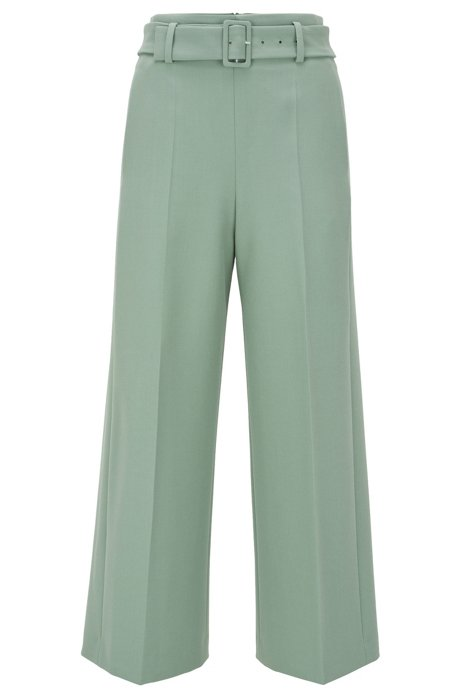 Regular-Fit Hose aus Stretch-Twill im Culotte-Stil, Hellgrün