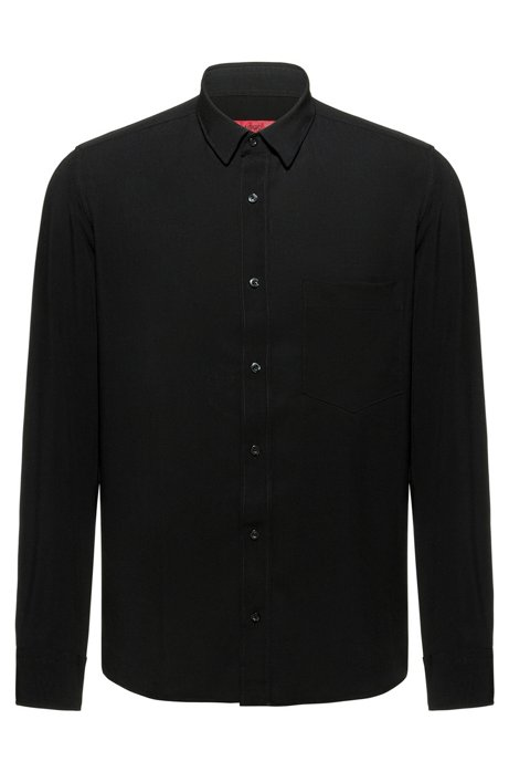 Straight-fit shirt in canvas with chest pocket, Black