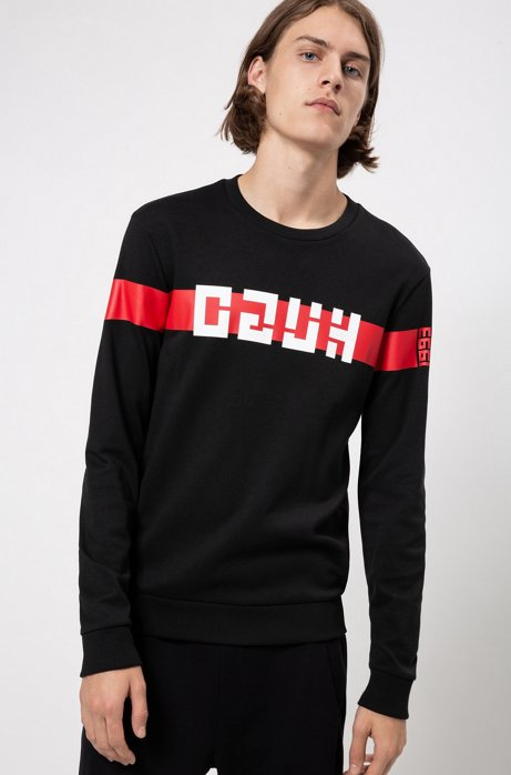 Regular-fit sweater met logo in retrostijl, Zwart
