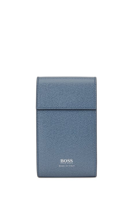 Signature Collection pouch in embossed palmellato leather, Light Blue