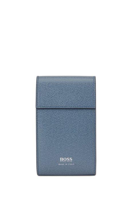 Pochette en cuir palmellato embossé Signature Collection, Bleu vif