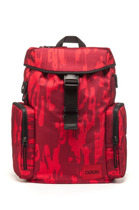Camouflage-print backpack in ripstop nylon, Dark Red