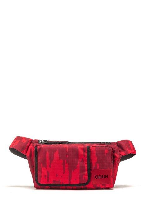 Marsupio con stampa camouflage in tessuto tecnico ripstop, Rosso scuro