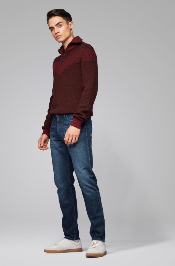 Tapered-Fit Jeans aus gestricktem Stretch-Denim mit Tunnelzug