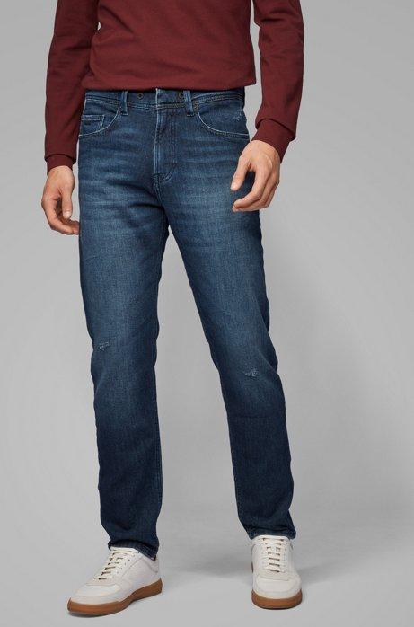 Tapered-Fit Jeans aus gestricktem Stretch-Denim mit Tunnelzug, Blau