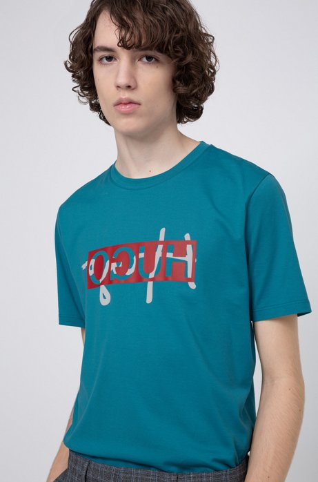 Regular-fit T-shirt with new-season reversed logo, Turquoise