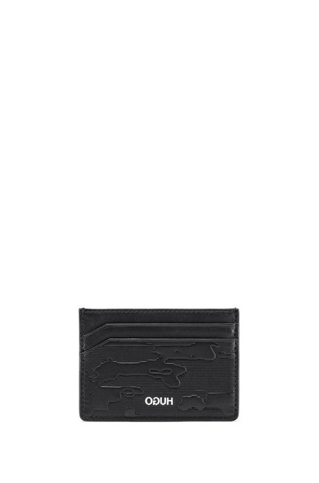 Leather card holder and metal money clip gift set, Black