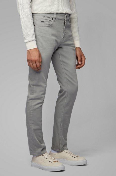 Slim-Fit Jeans aus überfärbtem Stretch-Denim, Grau