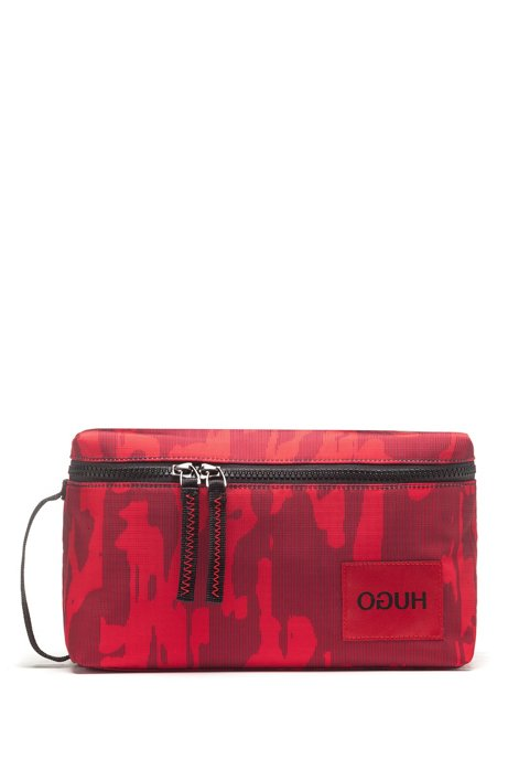 Beauty case con zip integrale e stampa camouflage, Rosso scuro