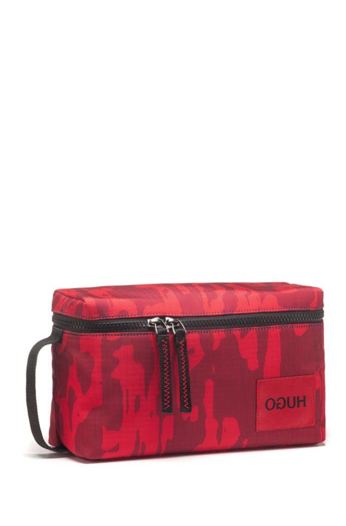 Zip-around washbag with camouflage print