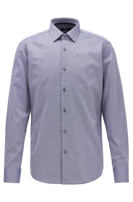 Regular-fit shirt in structured cotton with contrast details, Purple
