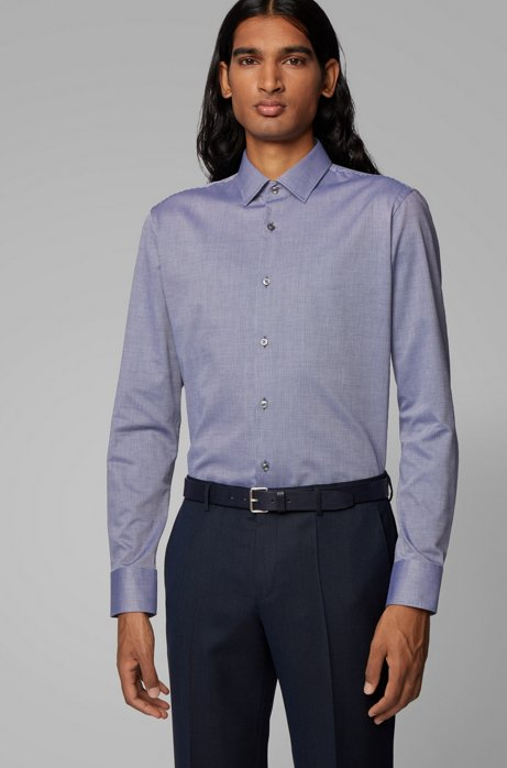 Regular-Fit Hemd aus strukturierter Baumwolle mit Kontrast-Details, Lila