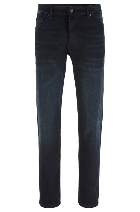 Relaxed-fit jeans in dark-blue comfort-stretch denim, Dark Blue