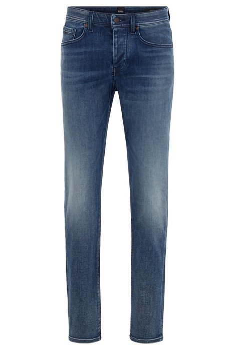Tapered-fit jeans van middenblauw super-stretchdenim, Blauw