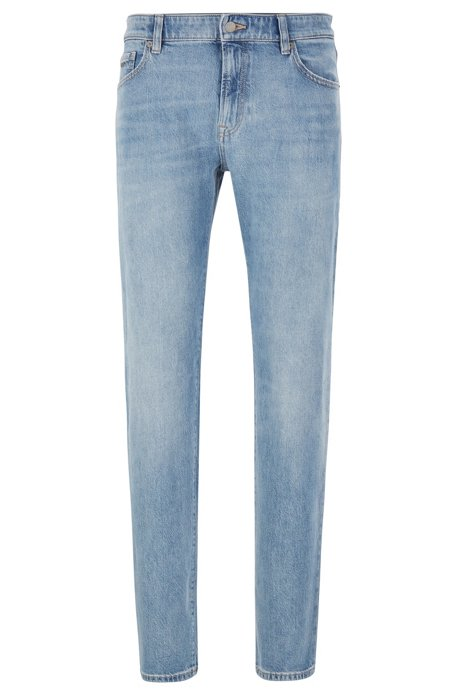 Regular-fit jeans in bright-blue stonewashed denim, Blue
