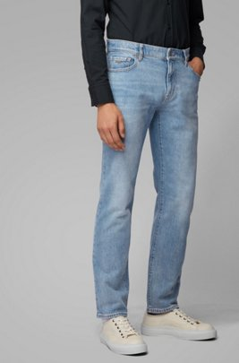 Regular-fit jeans van felblauw stonewashed denim, Blauw