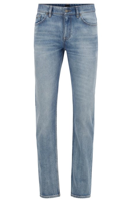 Jean Slim Fit en denim stretch stone-washed confortable, Bleu
