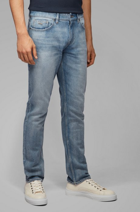 Slim-fit jeans in stone-washed comfort-stretch denim, Blue